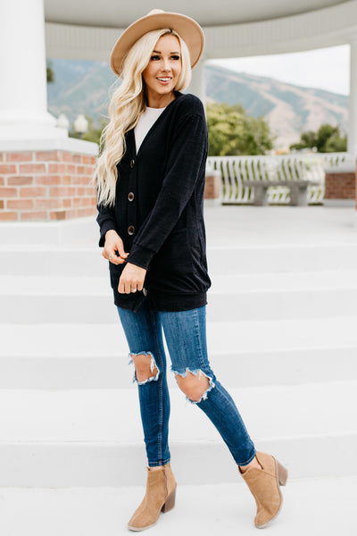 Cozy Up Cardigan - Black