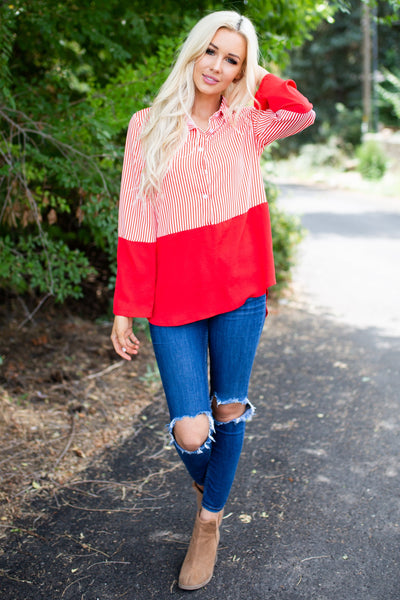 Perfect Night Long Sleeve Top - Red
