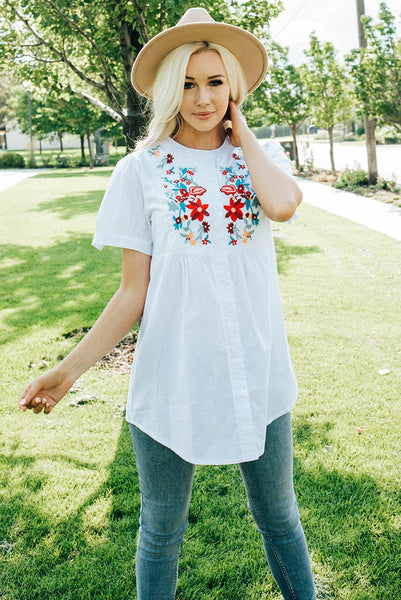 Fun Embroidered Top - White