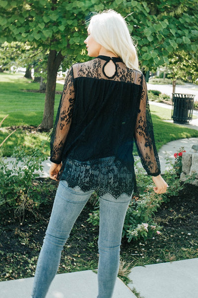In Full Glam Lace Top - Black