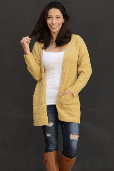 Knit Pocket Cardigan - Mustard