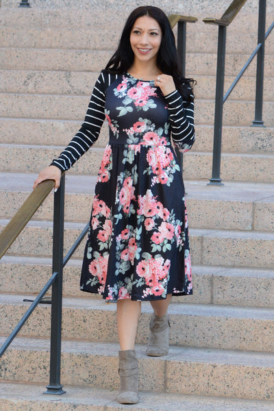 Hello Beautiful Floral Dress - Black