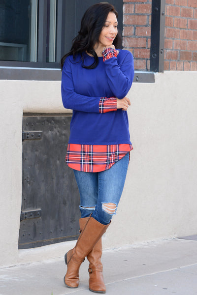 Fun In Plaid Tunic - Blue
