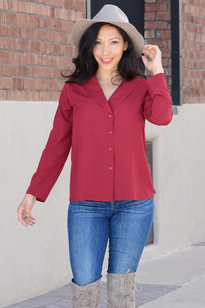 Day To Night Blouse - Burgundy