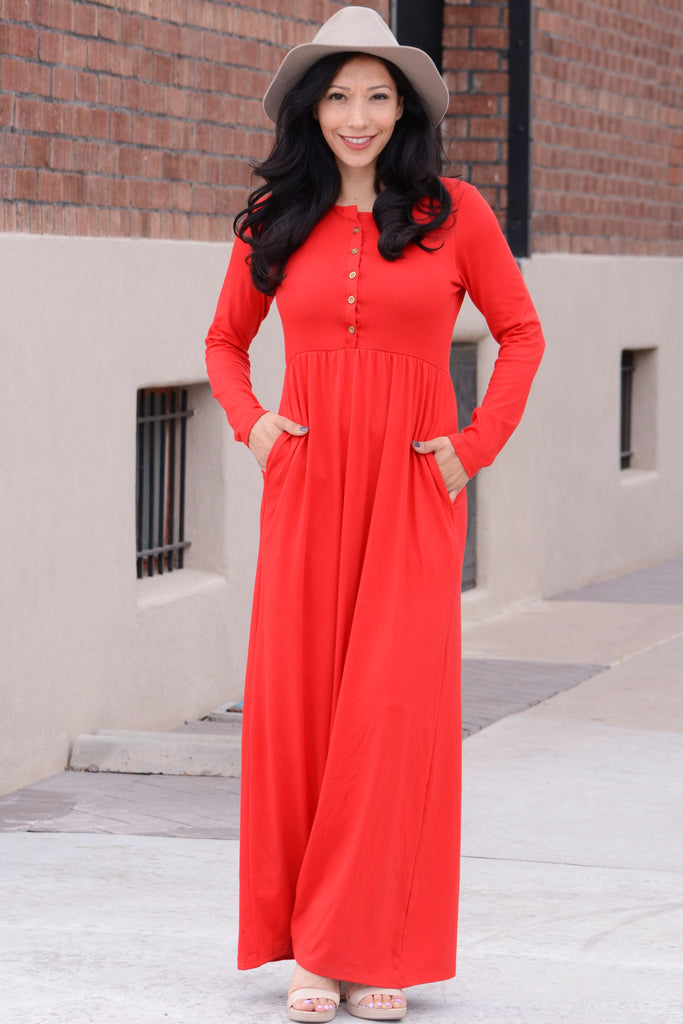 Nothing Better Long Sleeve Maxi - Red