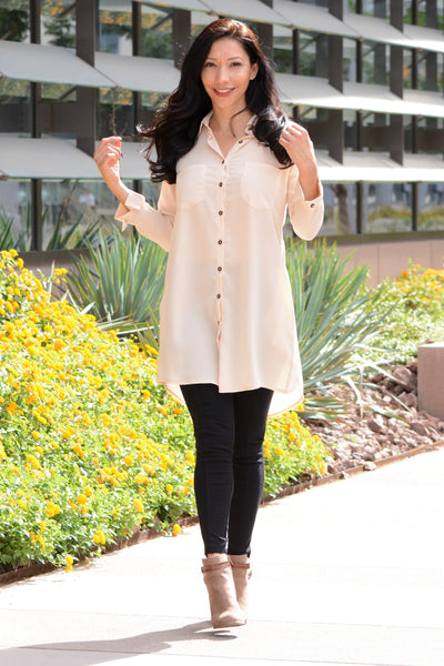Up For Anything Tunic - Beige