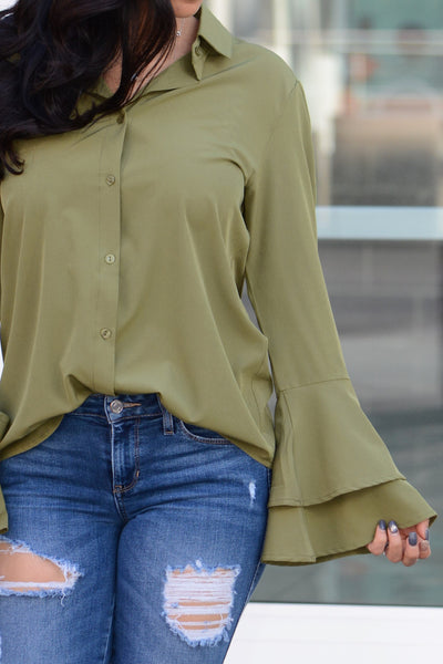 Layered Bell Sleeve Blouse - Green