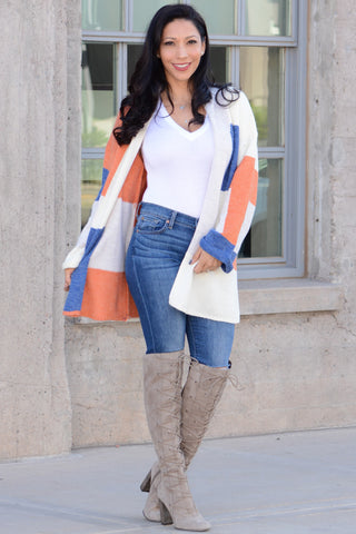 Colorblock Open Front Cardigan - Blue Orange