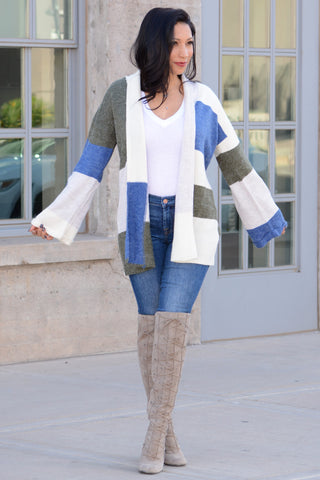 Colorblock Open Front Cardigan - Olive Blue