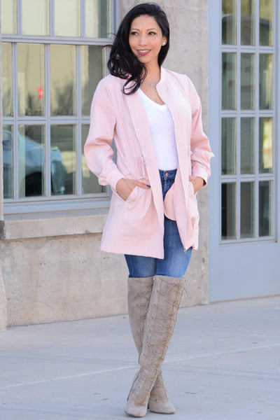 Winter Vibes Lightweight Coat - Pink
