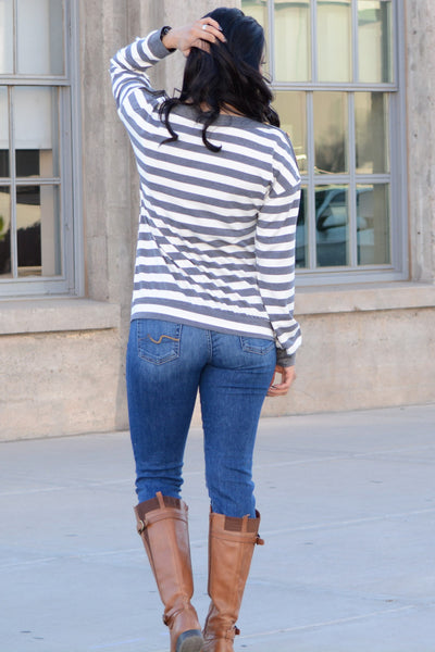 Perfect Button Striped Top - Gray
