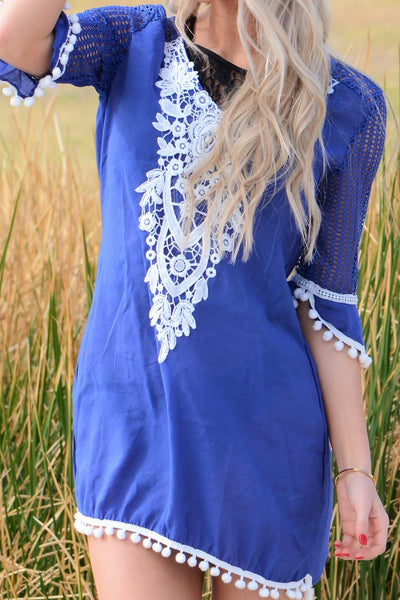 Fun Pom Trim Cover Up - Blue