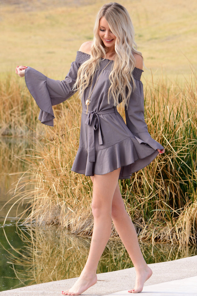 Flirty Ruffle Dress - Gray