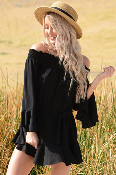 Flirty Ruffle Dress - Black