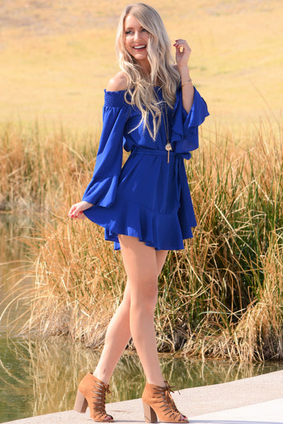 Flirty Ruffle Dress - Royal Blue