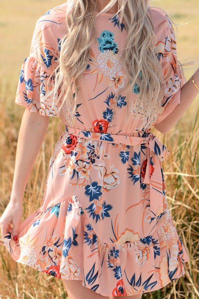 Bundle Of Flowers Dress - Apricot