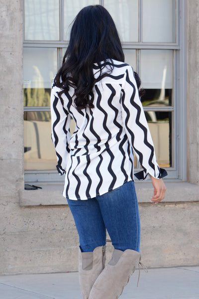 Wavy Stripes Button Down Top - Black