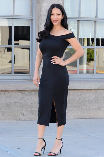 Flirty Frst Date Bodycon Dress - Black