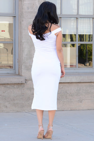 Flirty Frst Date Bodycon Dress - White
