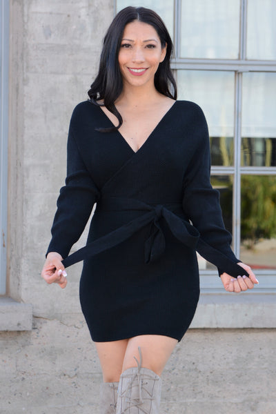 Winter Love Sweater Dress - Black