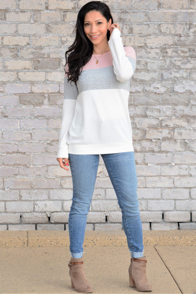 Comfy Days Top - Pink/Light Gray