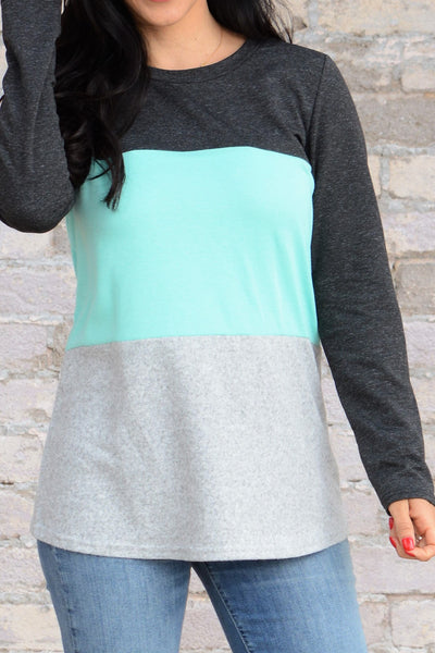 Comfy Days Top - Charcoal/Mint
