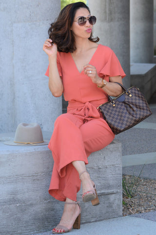 Flutter Sleeve Jumpsuit - Rusty Coral