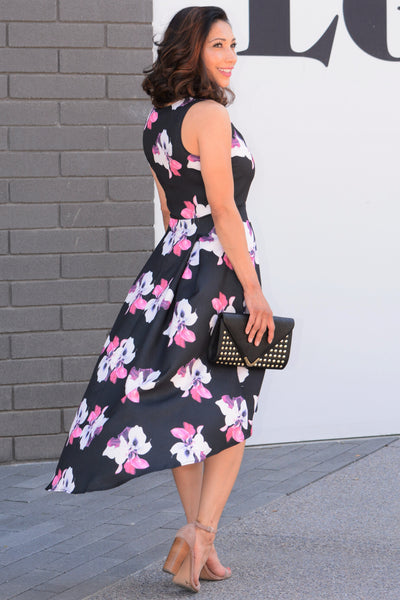 Elsie Hi Low Midi Dress - Black/Pink