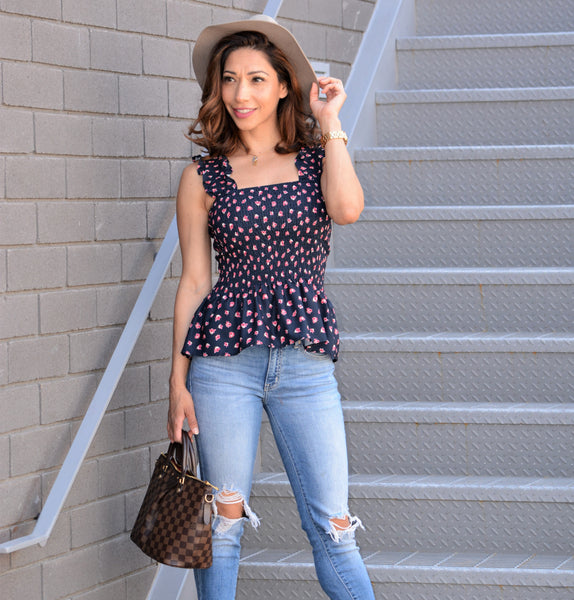 Smocked Floral Top - Navy