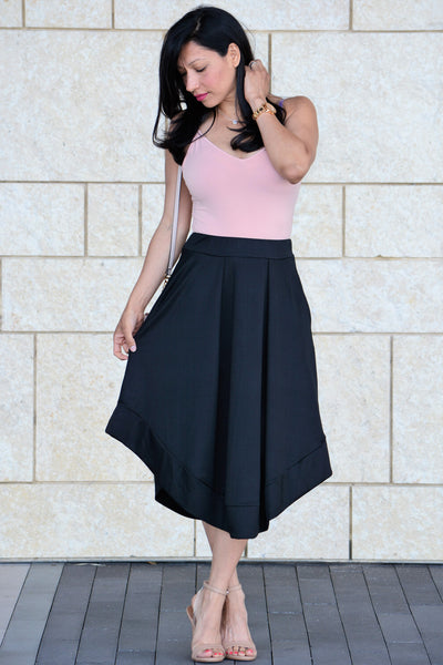 High Waist Midi Skirt - Black