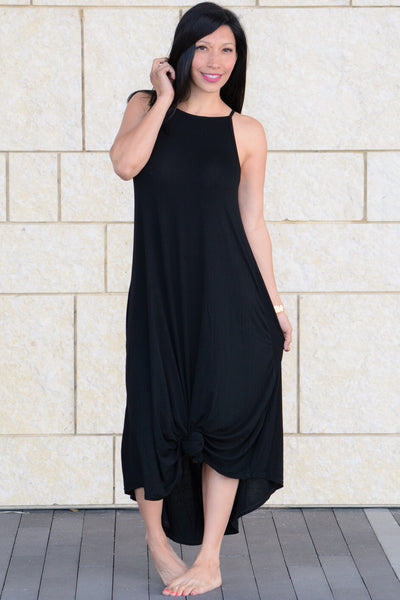 Asymmetric Trim Maxi Dress - Black