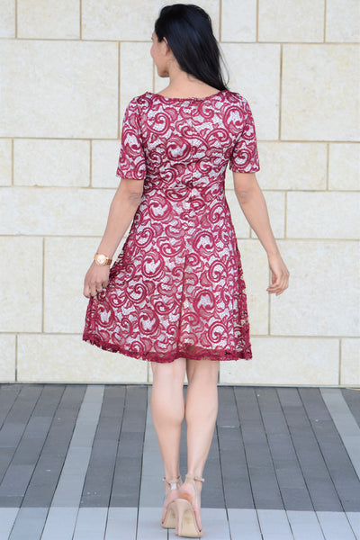 Pretty In Lace Dress - Burgundy