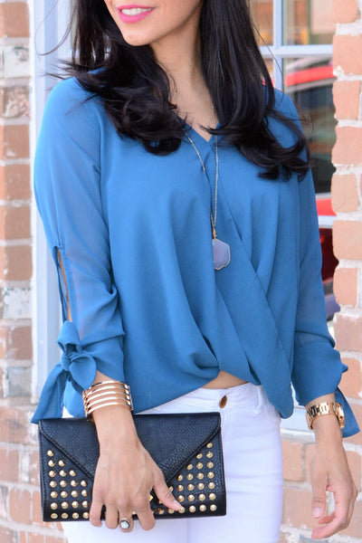 Draped Bow Tie Blouse - Dark Teal