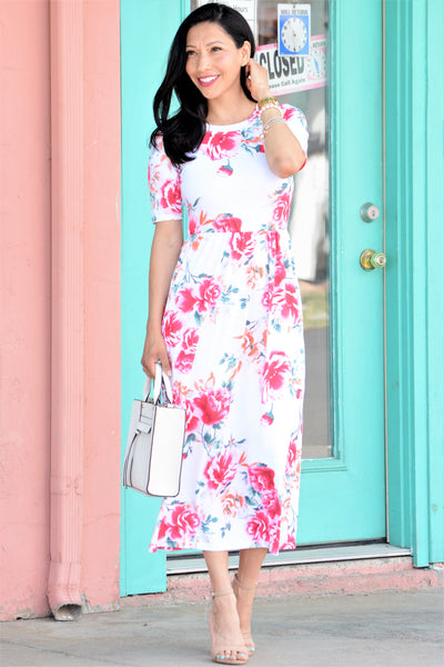 Floral Pocket Midi Dress - White