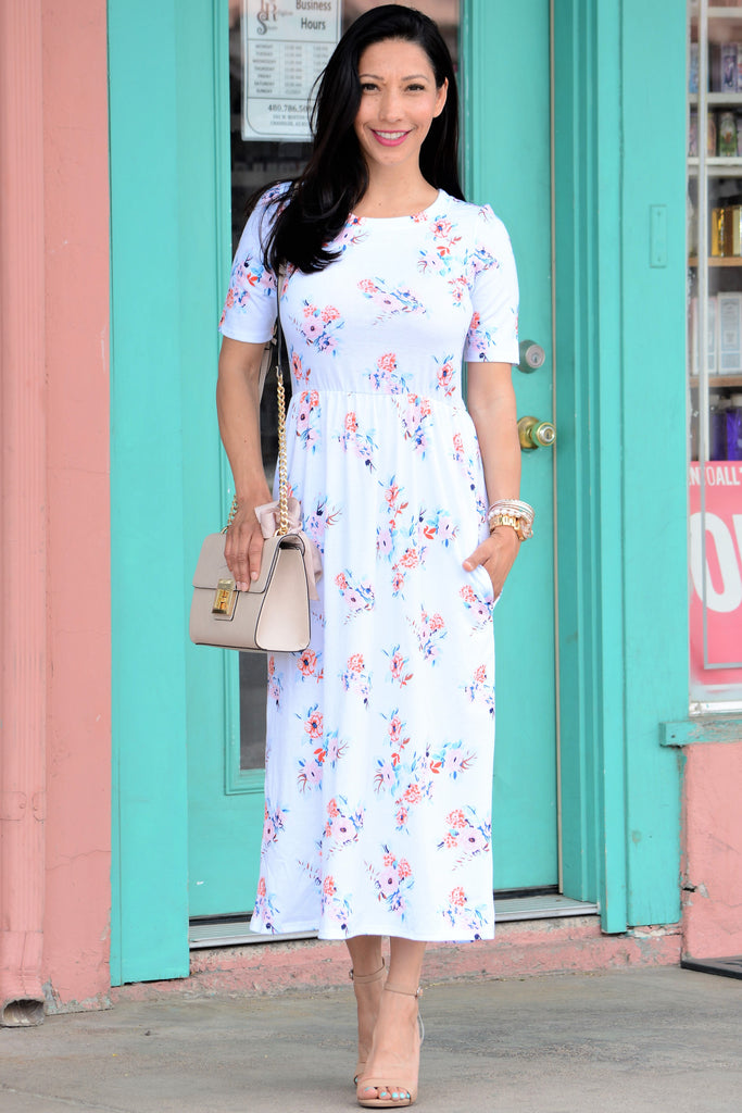 Floral Pocket Midi Dress - Light Blue