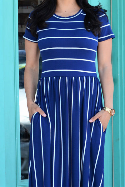 Striped Pocket Maxi Dress - Navy