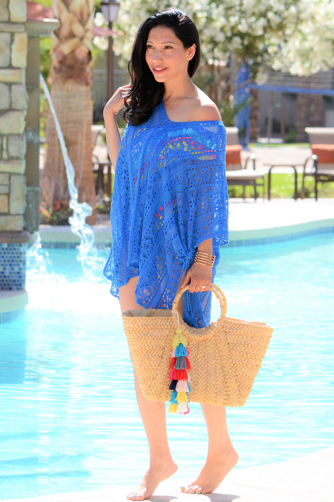 Breezy Tassle Cover Up - Blue