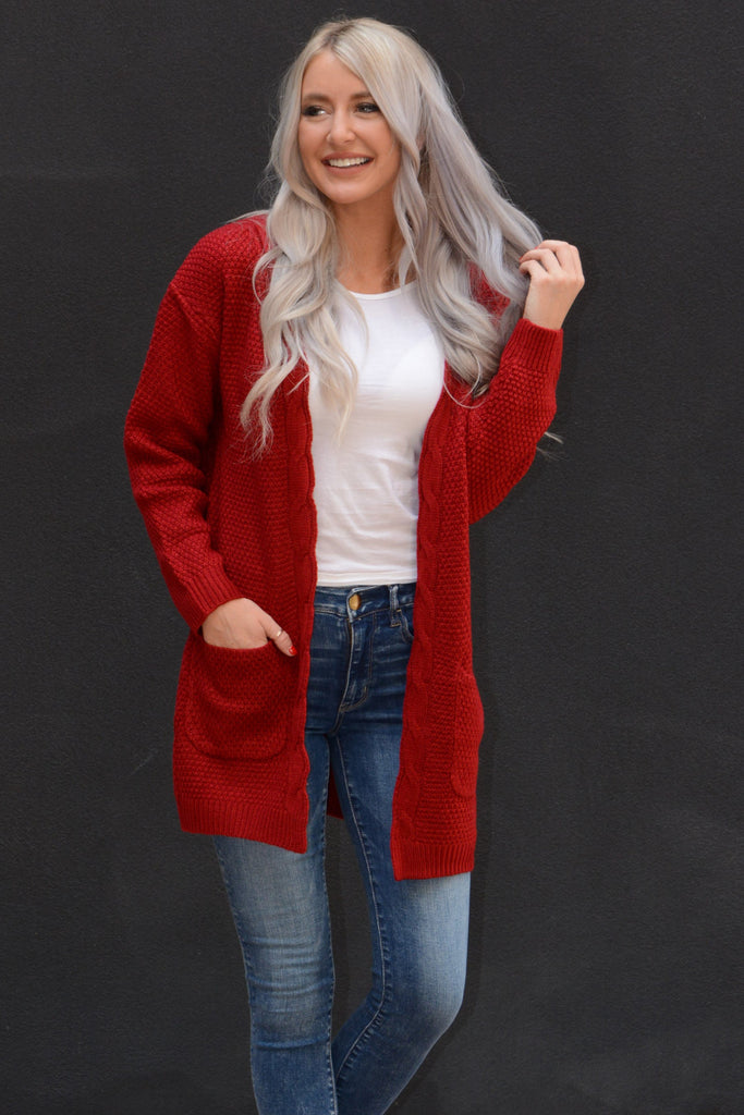 Knit Pocket Cardigan - Red
