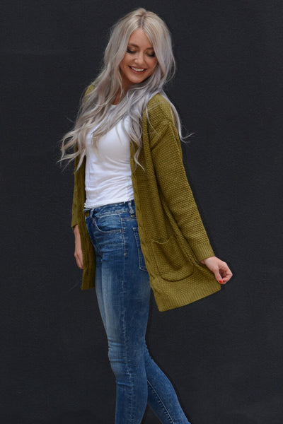 Knit Pocket Cardigan - Olive