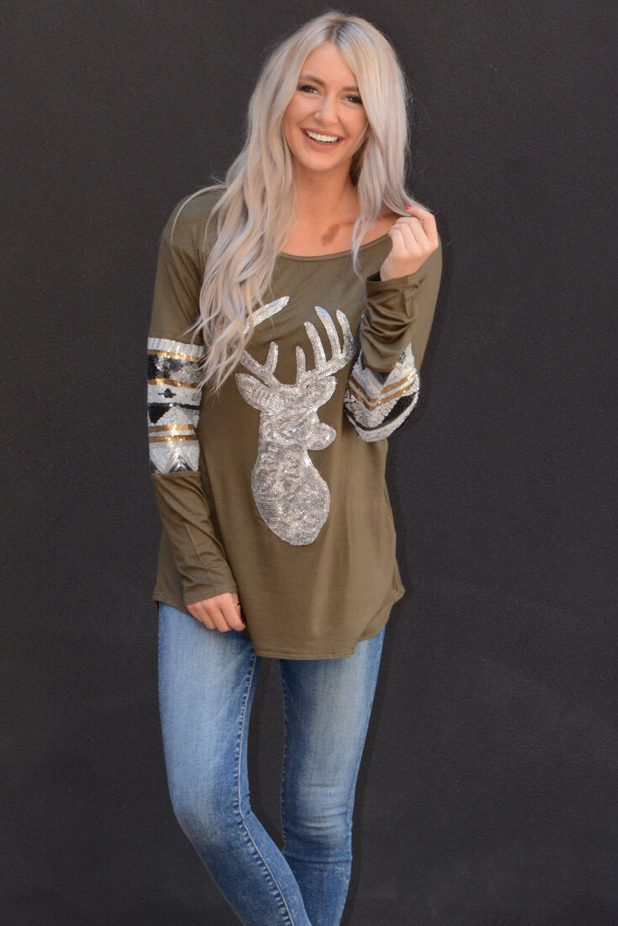 Sparkly Reindeer Tunic - Olive