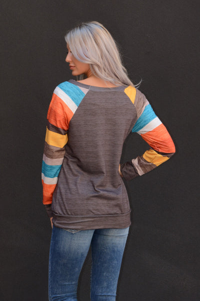 Fun Stripes Heathered Sweatshirt - Charcoal