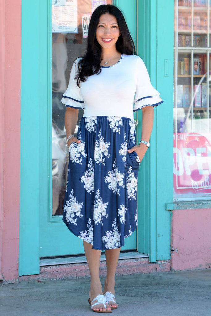 Layered Bell Sleeve Midi - White Navy