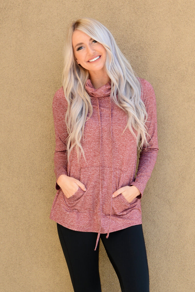 Red Cowl Neck Sweatshirt