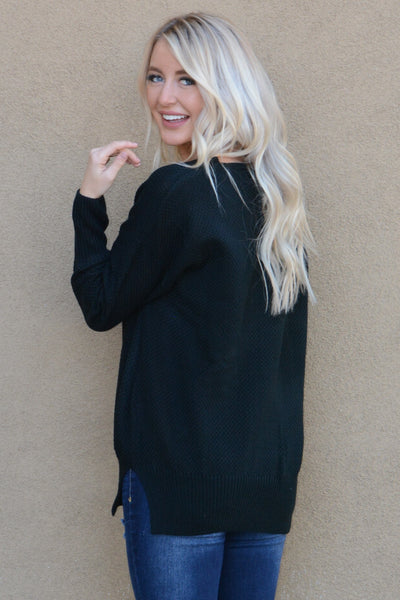 Long Sleeve Knitted V-Neck Sweater