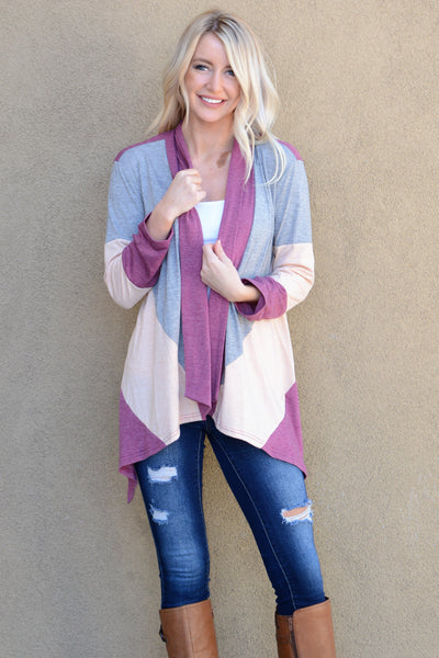 Draped Colorblock Cardigan - Burgudy