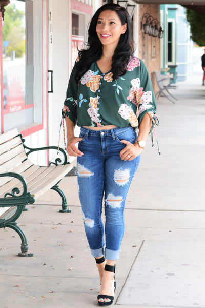 Day Dreams Floral Top - Green