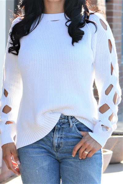 Cut It Out Sweater - White