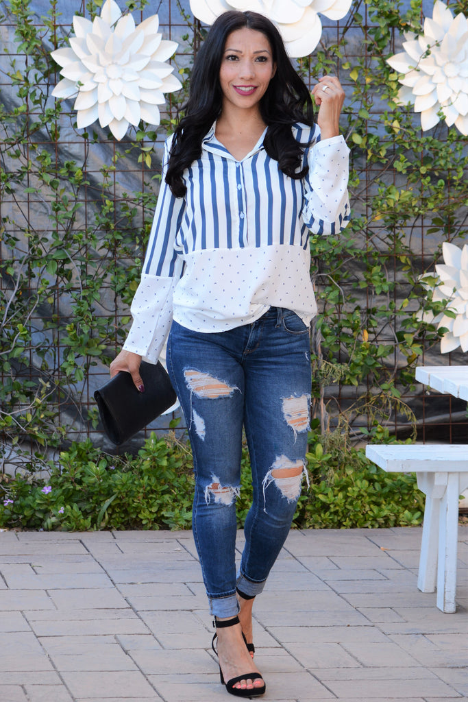 Perfect Night Long Sleeve Top - Blue