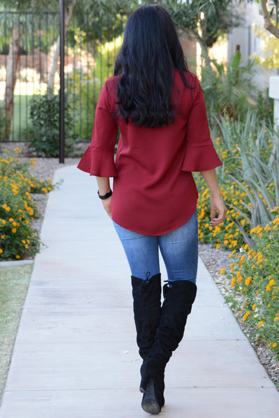 Perfect Weekend Blouse - Burgundy