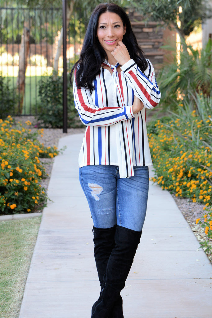Chic Striped Bow Tie Blouse - Red/Blue